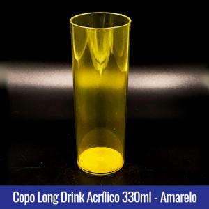 COPO ACRILICO LONG DRINK AMARELO TRANSLUCIDO