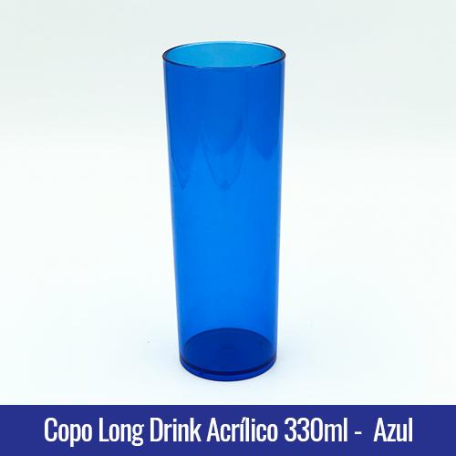 COPO ACRILICO LONG DRINK AZUL ROYAL TRANSLUCIDO