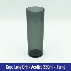 COPO ACRILICO LONG DRINK FUMÊ TRANSLUCIDO