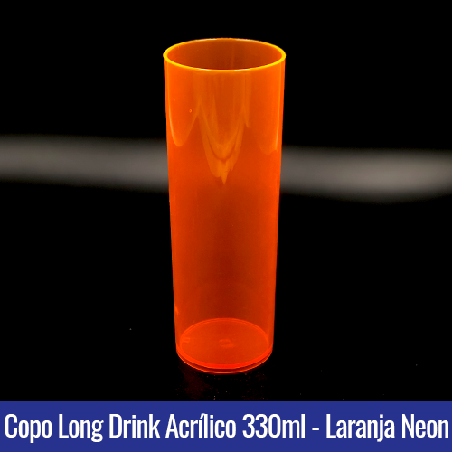 COPO ACRILICO LONG DRINK LARANJA TRANSLUCIDO