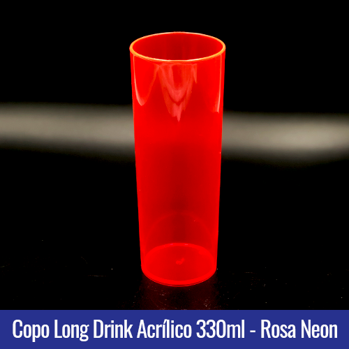 COPO ACRILICO LONG DRINK ROSA NEON TRANSLUCIDO