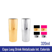 COPO LONG DRINK METALIZADO COM INTERIOR ROSA PRETO