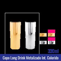 COPO LONG DRINK METALIZADO COM INTERIOR ROSA PRETO