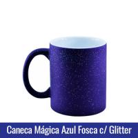 caneca mágica azul ceu estrelado com glitter