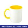 caneca porcelana alca e interior amarelo sublimação