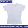 Camiseta Branca 100% Poliéster Baby Look | Tamanho P ao XG