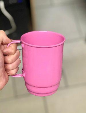 caneca aluminio chopp 550ml rosa