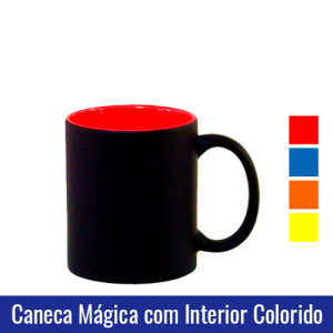 caneca magica preta fosca interior colorido