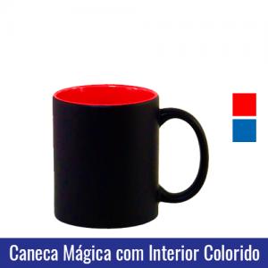 CANECA DE PORCELANA MÁGICA PRETA COM INTERIOR AZUL/VERMELHO 325ml - Ref. 92180