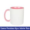 CANECA DE PORCELANA PARA SUBLIMAÇÃO ALÇA E INTERIOR ROSA - Ref. 92050 - 325ml.