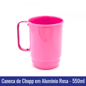 Caneca de Chopp em Alumínio Rosa para Sublimação - 550ml