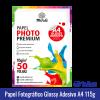 Papel Fotográfico GLOSSY ADESIVO A4 (BRILHANTE) 115g - Pacote c/ 50 folhas mundi globinho