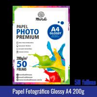 Papel Fotográfico GLOSSY A4 (BRILHANTE) 200g - Pacote c/ 50 folhas mundi globinho