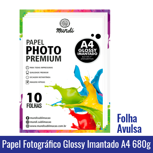 Papel Fotográfico GLOSSY A4 IMANTADO A4 (BRILHANTE) 680g - Folha Avulsa mundi globinho