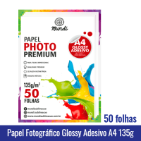 Papel Fotográfico MATTE ADESIVO A4 (FOSCO) 108g - Pacote c/ 50 folhas mundi globinho