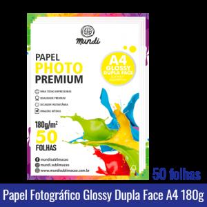 Papel Fotográfico GLOSSY A4 DUPLA FACE A4 (BRILHANTE) 180g - Pacote c/ 50 folhas mundi globinho