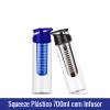 Squeeze Plástico 700ml com INFUSOR - TAMPA AZUL ou PRETA - Ref. 1019143