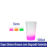 Copo Cônico 500 ML BRANCO com degradê - REF. 1310