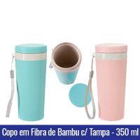 Copo TÉRMICO em FIBRA DE BAMBU com Tampa - 350 ml - ROSA / AZUL - Ref. 1400
