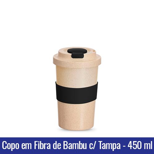 Copo em FIBRA DE BAMBU com Tampa - 450ml - BEGE C/ PRETO - Ref. 1401