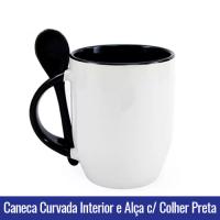 CANECA DE PORCELANA CURVADA PARA SUBLIMAÇÃO INTERIOR E ALÇA C/ COLHER preta- Ref. 92100