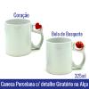 Caneca de Porcelana 325ML com Bola de BASQUETE / Coração GIRATÓRIO na Alça - Ref. 92271 / 92272