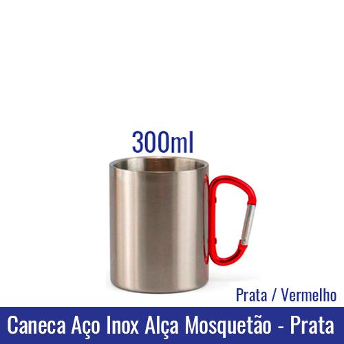 Caneca AÇO INOX 300 ml Alça Mosquetão - PRATA (alça vermelha) - Ref. 92321 Sublimação