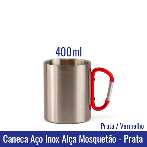 Caneca AÇO INOX 300 ml Alça Mosquetão - PRATA (alça vermelha) - Ref. 92321