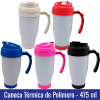 Caneca TERMICA de Polímero 475 ml - Tampa e Base Colorida - Ref. 94003