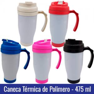 Caneca TERMICA de Polímero 475 ml - Tampa e Base Colorida - Ref. 94003