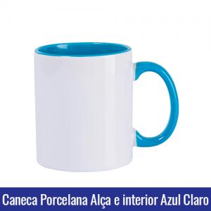 CANECA DE PORCELANA PARA SUBLIMAÇÃO ALÇA E INTERIOR AZUL CLARO - Ref. 92050 LIVE