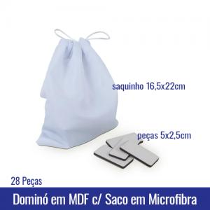 Dominó em MDF com 28 Peças com Saquinho em Microfibra SUBLIMÁVEL (tam. pecas 5 x 2,5cm) (tam. saquinho 16,5x22cm) - Ref. 101025
