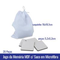 Jogo da Memória em MDF com 20 Peças com Saquinho em Microfibra SUBLIMAVEL (tam. pecas 5,2 x 5,2cm) (tam. saquinho 16x18,7cm) - Ref. 101026