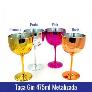 Taça de GIN 475 ml - METALIZADA - Ref. 1327 dorada, pink, rose e prata