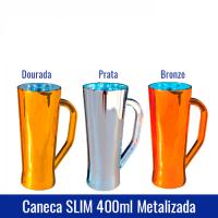 Caneca SLIM 400 ml METALIZADA - Ref. 1329. DISPONÍVEL NAS CORES: Dourada, Bronze e Prata.