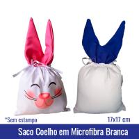 Saco Coelho em Microfibra Branca SUBLIMÁVEL - 17x17cm- Ref. 94806