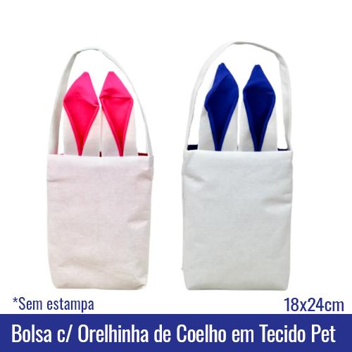 Bolsa com Orelhinha de Coelho em Tecido Pet - ORELHA AZUL/ROSA - 18x24cm - Ref. 94807