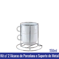 Kit c/ 2 XICARAS 150ml c/ SUPORTE METAL - Ref. 91015