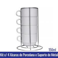 Kit c/ 4 XÍCARAS 150ml c/ SUPORTE METAL - Ref. 91016