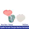 ESPELHO PLÁSTICO FORMATO CORAÇÃO 7x6,5cm - Abertura Horizontal - REF. 10026378 - DISPONÍVEL NAS CORES: BRANCO E ROSA CLARO
