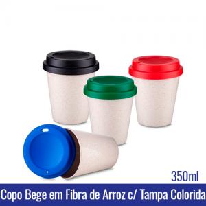 Copo de CAFE BEGE em Fibra de Arroz c/ Tampa - 350ml - REF. 1399 Tampas disponiveis nas cores: preta, azul, vermelha e verde