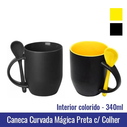 Caneca CURVADA de Porcelana 340 ml MAGICA PRETA com interior colorido (COM COLHER) - Ref. 92170 INTERIOR DISPONÍVEL NAS CORES: Amarelo e preto