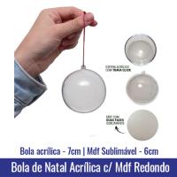 Bola de Natal em Acrilico (7cm) com MDF REDONDO (6cm) sublimável - Ref. 100947